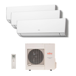 Ar Condicionado Multi Tri Split Inverter Fujitsu 2X9000+1X18000 Btus Hw Quente/Frio 220v 1F AOBG24LAT3