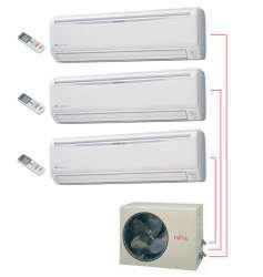 Ar Condicionado Tri Split 2x9000 + 1x12000 BTU/s Conectavel Quente/Frio 220V Fujitsu Inverter ASBA09LACM